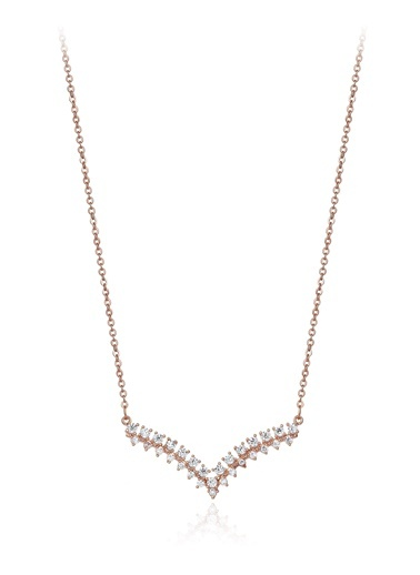 0,80 Ct Pırlanta Efekt Altın Vanessa Roz Kolye-Tophills Diamond Co.